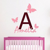 Wall Decals Vinyl Decal Sticker Children Kids Nursery Baby Room Interior Design Home Decor Fairy Butterfly Custom Monogram Girl Personalized Name Kg839