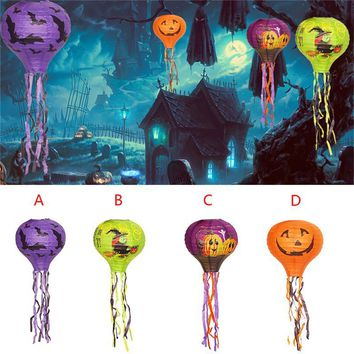 Halloween Paper Hanging Pumpkin Lantern Bar Haunted House Lights Telescopic Portable Pendant Ornaments Decor Party Supplies