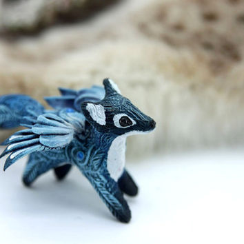 Snow Winged Fox Figurine Sculpture Green Winged Fox Fantasy Animal Totem