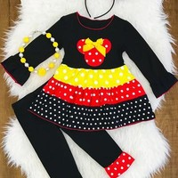 RED/YELLOW/BLACK MINNIE BOUTIQUE OUTFIT