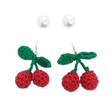 Cherry Drop Earrings Set