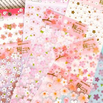 Japan romantic Cherry blossoms Stickers /scrapbook diary deco stickers/School stationery office supplies GT206