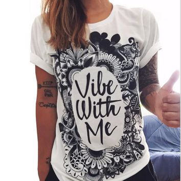 Letters Print Loose Cotton Shirt Blouse Tops