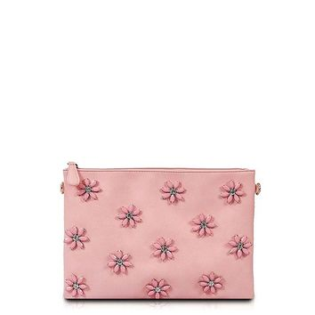 Pink Flower Stone Studded Clutch