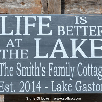 Lake Sign Personalized Family Name Sign Lake House Decor