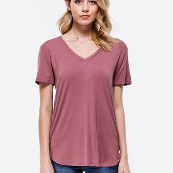My Favorite V-Neck Tee - Dusty Rose