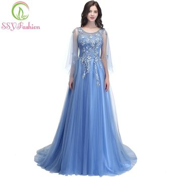 New Elegant Lace Flower Evening Dress Romantic Appliques With Streamer Long Prom Party Gown
