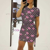 GUCCI Tide brand female floral print vintage dress