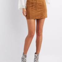 Faux Suede Lace-Up Mini Skirt | Charlotte Russe