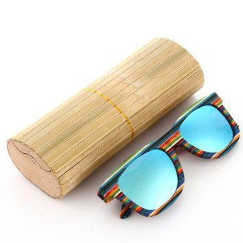 Wood Frame Polarized Sunglasses Blue