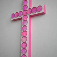 """PINK & WHITE CROSS- Glass Gem Wall Cross in White and Hot Pink w/ Pink Glass Gems - 9.5"""" x 5.5"""""""
