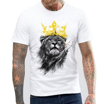 Men's 2017 Funny King of Lion Printed  Design T Shirt O-neck Cool Tops Hipster Printed Summer T-shirt