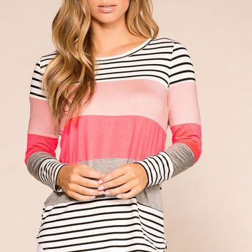 Fresh Start Neon Colorblock Striped Top