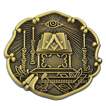 The Masonic Exchange Masonic All Seeing Eye Working Tools Antique Brass Lapel Pin  1quot Tall