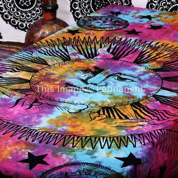 Tie Dye Sun Tapestries , Hippie Gypsy tapestry , Moon Star Tapestries , Wall Tapestries , Bohemian tapestries, Tie Dye Tapestry Wall Hanging