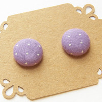Fabric Button Earring Stud - Purple Polka Dot - Stud Earring - Hypoallergenic Earrings