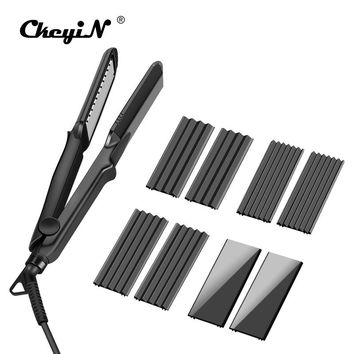 4 in 1 Hair Flat Iron Ceramic Fast Heating Hair Straightener Straightening Corn Wide Wave Plate Curling Hair Curler Styling Tool