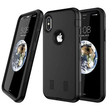 For iPhone X Case Silicone & PC Back Cover iPhone X Defender Case Armor Shockproof Marble 3in1 Hybrid Cases Mobile Phone Shell