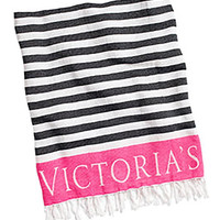VICTORIA'S SECRET Beach Blanket -Black Stripe/ Pink