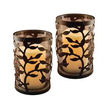 Metal Lantern with LED Candle- Warm Black Round Vine- 2 Count