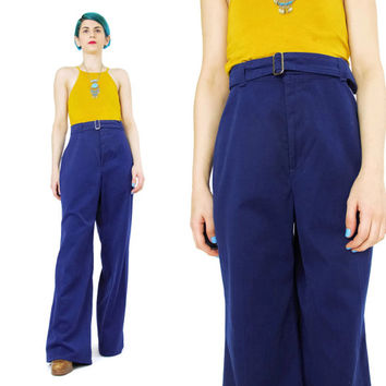Vintage 1970s Wide Leg Pants Navy Blue Trousers Sailor Pants Womens LEVIS Pants High Waisted Pants Buckle Belted Pants Bell Bottoms (L)