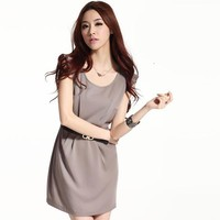 Slim Round Neck Sleeveless Dress Gray - Designer Shoes|Bqueenshoes.com