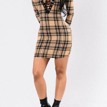 Streetstyle  Casual Apricot Plaid Hollow-out Lace-up Plunging Neckline Bodycon Clubwear Mini Dress