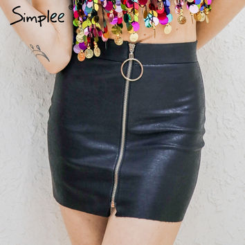 Simplee Party punk short black pencil skirt High waist zipper leather skirt 2017 Vintage summer mini skirts womens bottoms