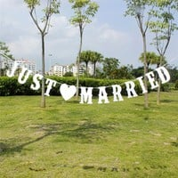 JUST MARRIED Vintage Paper Banner With 3M Ribbon Romatic Wedding Decoration Supplies Event Party Home Decor