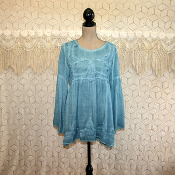Hippie Clothes Boho Top Babydoll Long Sleeve Shirt Peasant Blouse Blue Turquoise Bohemian Bell Sleeve Rayon Small Medium New Womens Clothing