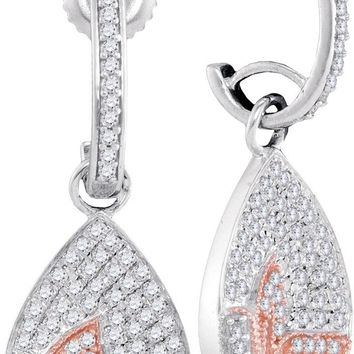 10kt White Gold Womens Round Diamond Teardrop Rose-tone Butterfly Dangle Earrings 3/8 Cttw