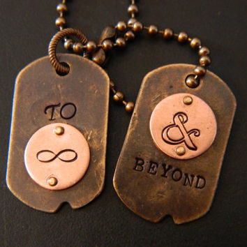 To Infinity and Beyond Hand Metal Stamped Dog Tags and Ball Chain Necklace