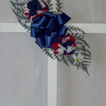 Patriotic American White Wood Cross - 24 Inch