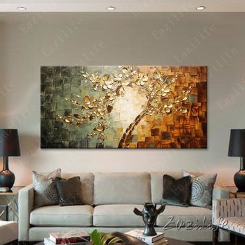 Tree Hand Painted palette knife 3D texture flower Canvas Oil Painting Wall Pictures Art For Living Room Quadros Home Decor