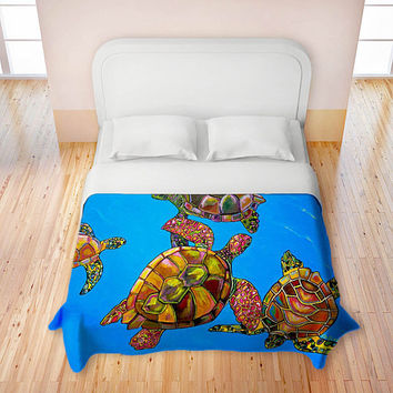Artistic Duvet Covers by DiaNoche Designs, Sarah's Sea Turtles