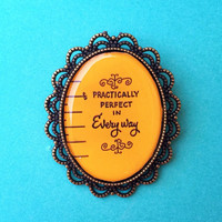 "Handmade ""Practically Perfect in Every Way"" Mary Poppins Measuring Tape inspired Brooch with Bronze Setting Oval Cameo"