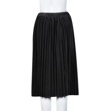 Retro Velvet Skirt Pleated Elegant Women Long Warm Skirt Lady Office Warm Winter Skirt Saia Longa Cintura Alta#212 SM6