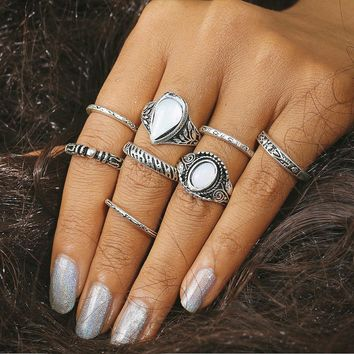 8pcs/Set Fashion Retro Crystal Engraved Carved Flowers Rings Combination Jewelry