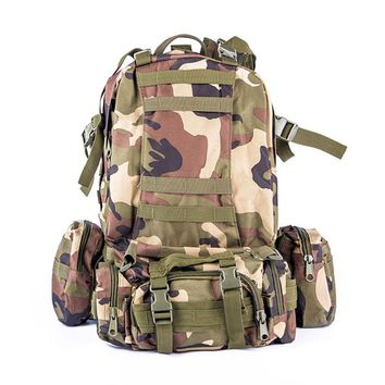 Military Tactical Backpack Camouflage Combo Outdoor Hiking Trip Camping Travel Wild Survival Large Bag