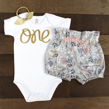 Gold One Gray Bloomer Outfit