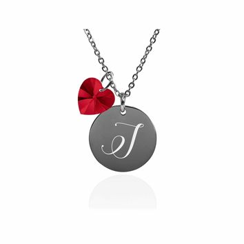 Dainty Initial Necklace made with Crystals from Swarovski  - I