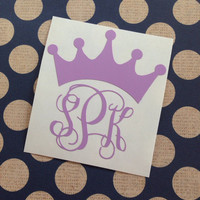 Vinyl Crown With Monogram | Vine Monogram | Preppy | Monogrammed | Personalized | Prep | Prepster |