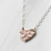 Rose Gold Heart Necklace Romantic Pink Gold Hammered by burnish