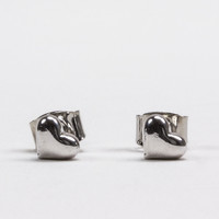 Rhodium Domed Heart Stud Earrings