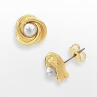 14k Gold-Plated Simulated Pearl Love Knot Stud Earrings