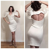80s Wedding Dress Short Sassy Fringed Sleeve Open Back Form Fitting White Gown size 8