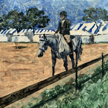 Hampton Classic Horse Show Painting, Oil on Board
