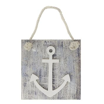 """7.25"""" Blue and White Cape Cod Inspired Anchor Wall Hanging Plaque"""