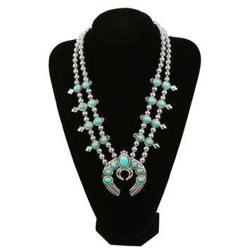 Customized design  most selling Pumpkin flower necklace, Vintage silver turquoise squash bloss