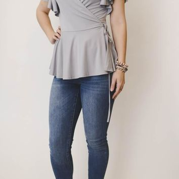 V- Neck Tie Wrap Top - Gray